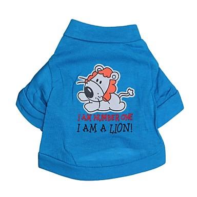 Katze Hund T-shirt Hundekleidung Buchstabe & Nummer Cartoon Design Blau Baumwolle Kostüm Für Haustiere