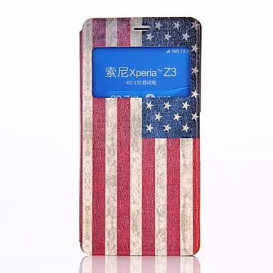 Amerikaanse vlag patroon pu lederen flip-open full body case met standaard voor sony z3