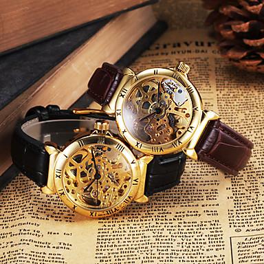 Ανδρικά μηχανικό ρολόι Ρολόι Καρπού Αυτόματο κούρδισμα Εσωτερικού Μηχανισμού Δέρμα Μπάντα Πολυτέλεια Μαύρο Καφέ
