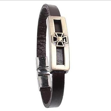 punk stijl holle kruis legering leren armband (1 st)