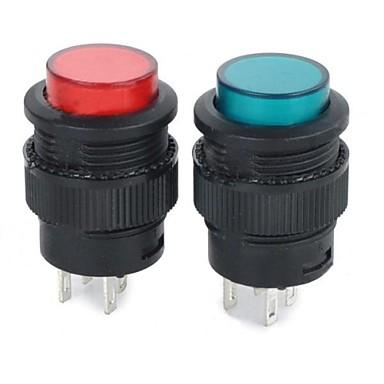 auto-bloqueio interruptor de botão w / luz indicadora - vermelho + verde + preto (2pcs)