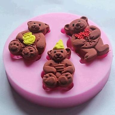 três ursos bolo fondant ferramentas de silicone bolo molde decoração, l7cm * * w7cm h1cm