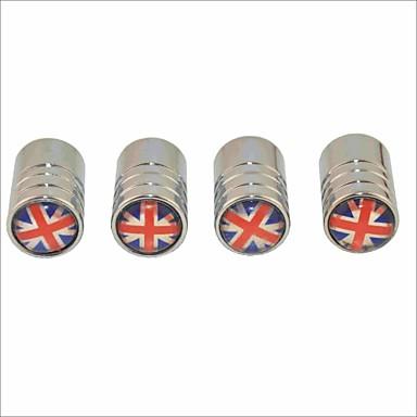 diy ingiliz bayrak desen evrensel lastik hava valf kapakları - gümüş (4 adet)
