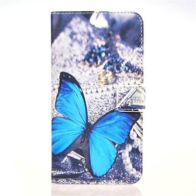padrão borboleta estojo de couro pu azul com ranhura para cartão de suporte e para Huawei Ascend g7