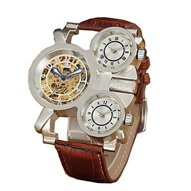 Bărbați Ceas Schelet ceas mecanic Mecanism automat Rezistent la Apă Gravură scobită Zone Triple De Timp Piele Bandă Luxos Negru MaroAlb