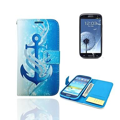 άγκυρα μοτίβο PU δερμάτινο κάλυμμα γεμάτο σώμα με βάση και προστατευτική μεμβράνη για i9300 Samsung Galaxy S3