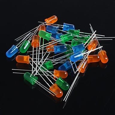 Diode emițătoare de lumină 5mm 60pcs (verde + albastru + portocaliu)