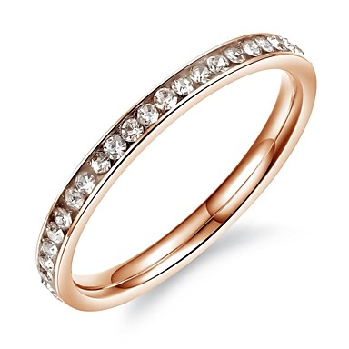 Anéis Casamento / Pesta / Diário / Casual Jóias Aço Titânio / Chapeado Dourado Feminino Anéis Grossos5 / 6 / 7 / 4Cor de Rosa / Preto /