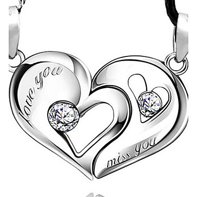 925 sterling zilveren hart hart kus liefhebbers hanger (een paar van de verkoop)