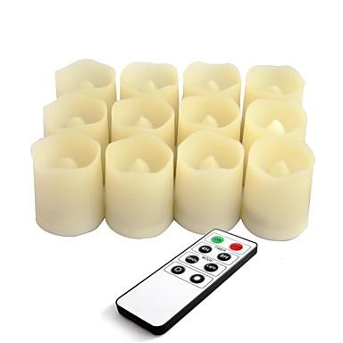 Satz von 12 Farbe Elfenbein Plastik führte flammenlose Kerzen mit Fernbedienung und Timer