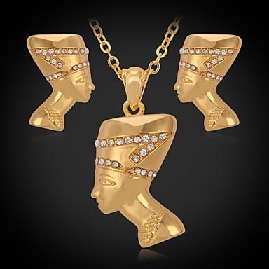 Schmuckset Imitation Diamant Strass Platiert vergoldet Imitation Diamant Silber Golden Halsketten Ohrringe FürHochzeit Party Alltag