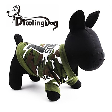 Γάτα Σκύλος Φούτερ με Κουκούλα Ρούχα για σκύλους καμουφλάζ Πράσινο Βαμβάκι Στολές Για κατοικίδια