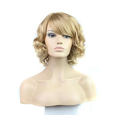 Sentetik Peruklar Bukle Sarışın Bantlı Sentetik Saç 12 inç Patlama ile Sarışın Peruk Kadın's Bonesiz Sarışın