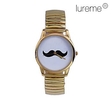 Moustache modèle en métal analogique montre-bracelet à quartz pour femmes (Gold)