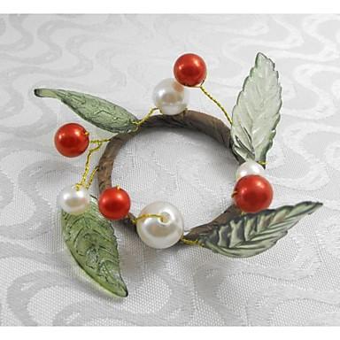 κόκκινο Χριστούγεννα φρούτα δαχτυλίδι μαργαριτάρι πετσέτα Χριστούγεννα, ακρυλικό, 1.77inch, σετ 12