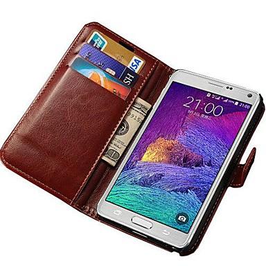 Para Samsung Galaxy Note Porta-Cartão / Com Suporte / Flip Capinha Corpo Inteiro Capinha Cor Única Couro PU Samsung Note 4