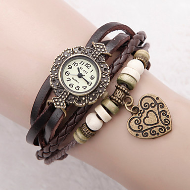 Women's Quartz Bracelet Watch PU Band Flower / Heart shape / Bohemian / Fashion Black / White / Blue / Red / Green