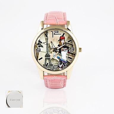 gepersonaliseerde cadeau nieuwe stijl pvc lederen band, printen wijzerplaat unisexfashion quartz horloge