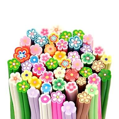 50pcs Blumenmuster 3d cane Stock Stange Aufkleber mixs Farbe Nagelkunstdekoration