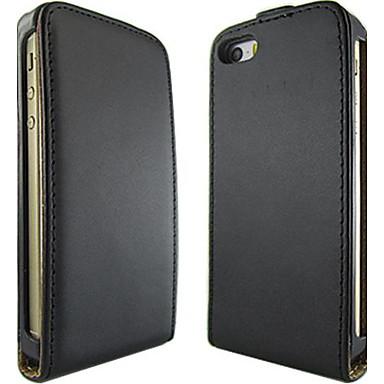 abordables Coques pour iPhone 5-couleur unie ouvrir de haut en bas en cuir PU corps entier étui de protection pour iPhone 5 / 5s