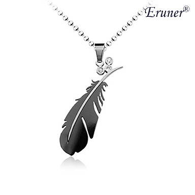 Eruner®Titanium Steel Crystal Feather Pendant Man's Necklace