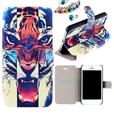 o pu caso de corpo inteiro padrão de boca de tigre com o plug poeira para o iphone 5 / 5s