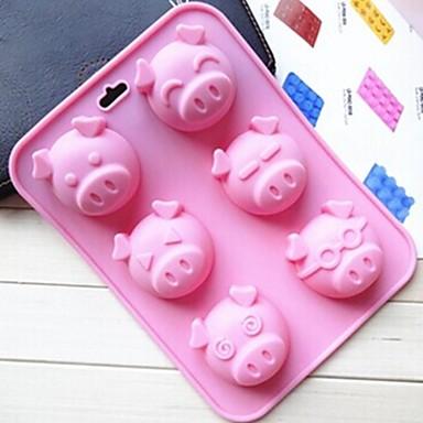 6 buracos molde cara de porco forma de bolo