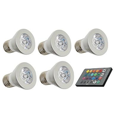 5pcs 3W 150lm E26 / E27 LED Spotlight 1 LED Beads Decorative Remote-Controlled 85-265V