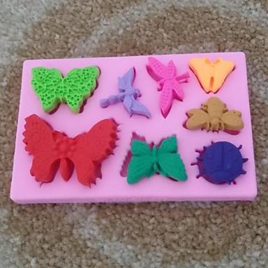 Tier Schmetterling geformt Fondantkuchen Schokoladensilikonform Kuchenkuchen Dekorationswerkzeuge, l10.6cm * w6.8cm * h1cm