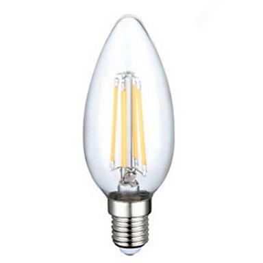 e14 3.5w 4xcob 400lm 2800-3200k lâmpadas de vela brancas quentes led luz de filamento (230V ac)