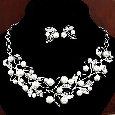 Damen Weiß Perle Schmuck-Set - Perle, Diamantimitate Elegant, Brautkleidung Einschließen Tropfen-Ohrringe Anhängerketten Silber Für Hochzeit Party Geschenk