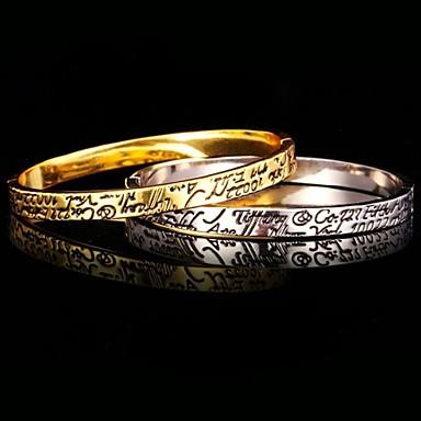 18k pulseira de platina ouro verdadeiro do u7®men chapeado esmalte estilo simples pulseira da moda para homens / mulheres