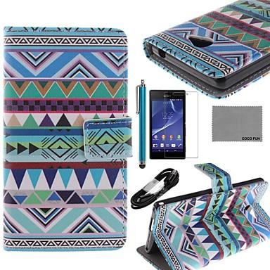 coco fun® driehoek trible patroon pu lederen tas met screen protector, usb kabel en stylus voor de Sony Xperia m2 s50h