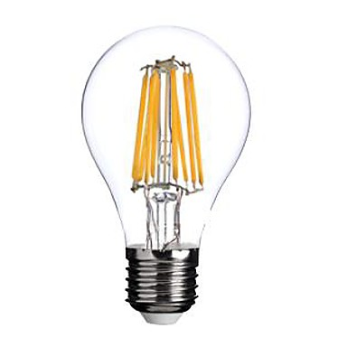 1pc 800 lm E26/E27 LED Filament Bulbs A60(A19) 8 leds COB Warm White AC 220-240V