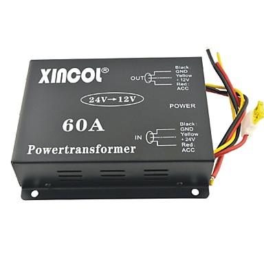 xincol® voertuig auto dc 24v naar 12v 60a voeding transformator omvormer met dubbele ventilator regulering-zwart