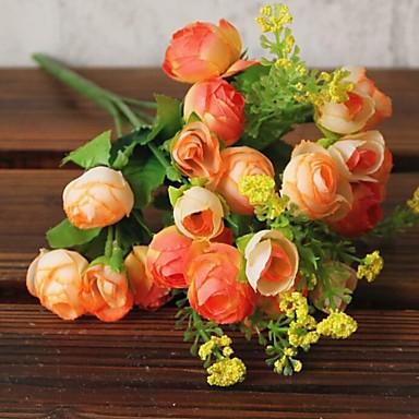 1 Tak Kunststof Draad Camellia Bloemen voor op tafel Kunstbloemen