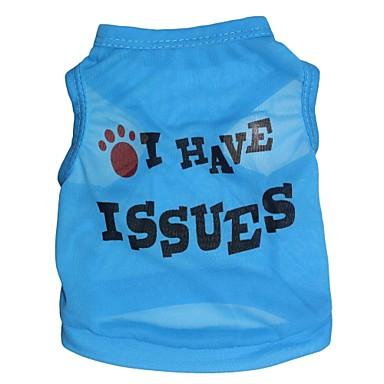 Kedi Köpek Tişört Köpek Giyimi Harf & Sayı Mavi Terylene Kostüm Evcil hayvanlar için