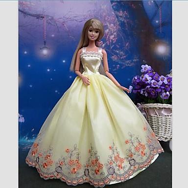 Πάρτι/Απόγευμα Φορέματα Για Κούκλα Barbie Δαντέλα Σατέν Φόρεμα Για Κορίτσια κούκλα παιχνιδιών