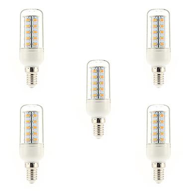 5pçs 4W 400-500 lm E14 Lâmpadas de Filamento de LED 36 leds SMD 5730 Branco Quente AC 220-240 V