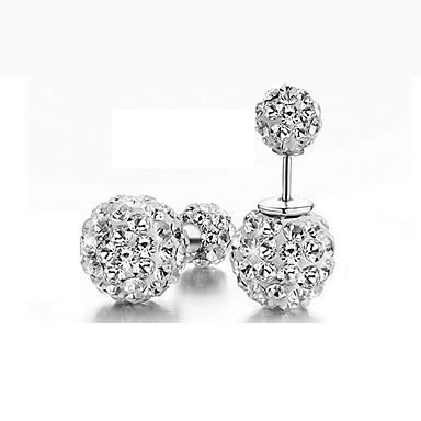 Kadın's Damla Küpeler - Som Gümüş, Simüle Elmas Klasik Gümüş Uyumluluk