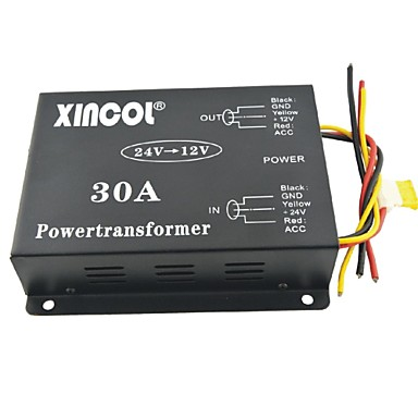 xincol® veículo carro dc 24v para 12v 30a conversor transformador de alimentação com ventilador regulamentação-negro