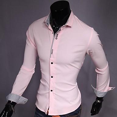 baratos Roupa de Homem Moderna-Homens Camisa Social - Trabalho Negócio Sólido Algodão Delgado Branco L / Manga Longa