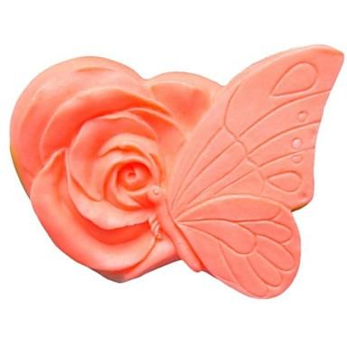 Schmetterling Blumen-Fondant-Kuchen Schokoladensilikonform Kuchendekorationswerkzeuge, l9.5cm * w7.5cm * h4.3cm