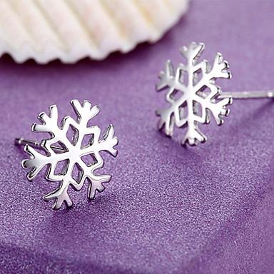 Mulheres Floco de Neve Prata de Lei Brincos Curtos - Cor Ecrã Brincos Para
