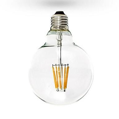 1pc 6W 600 lm E26/E27 LED Filaman Ampuller G125 6 led COB Kısılabilir Sıcak Beyaz AC 110-130V AC 220-240V