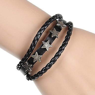 Dames Strand Armbanden Tennis Armbanden Vriendschap armbanden Wikkelarmbanden Vintage Armbanden Lederen armbanden Leder LegeringZwart