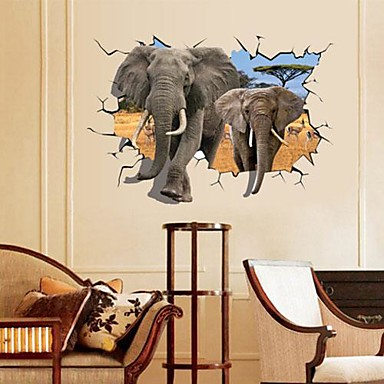 Manzara Hayvanlar Natürmort Romantizm Moda Fantezi 3D Duvar Etiketler 3D Duvar Çıkartması Dekoratif Duvar Çıkartmaları, Kağıt Ev