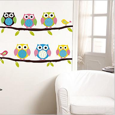 Çevre çıkarılabilir sevimli baykuşlar pvc duvar sticker