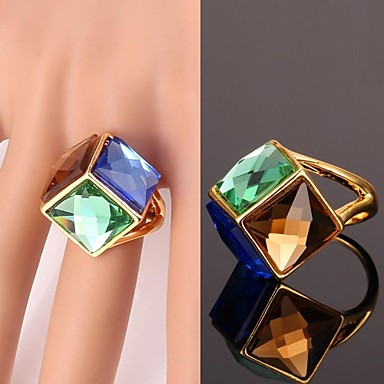Kadın's Bildiri Yüzüğü - Kristal, Altın Kaplama, alaşım Moda Mavi Uyumluluk Düğün / Parti / Günlük / Spor