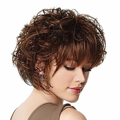 Συνθετικές Περούκες Πυκνότητα Γυναικεία Καφέ Καρναβάλι περούκα Απόκριες Περούκα κοστούμι περούκα Κοντό Συνθετικά μαλλιά